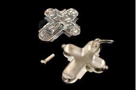 Silver Screw Cross Necklace 80