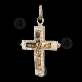 Silver Screw Cross Necklace 42