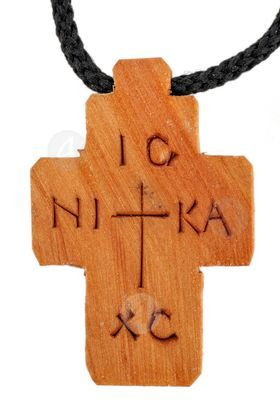 Wooden Carved Cross Necklace